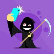Stock Illustration of Halloween Selfie Photo Smart Phone Cartoon Grim Reaper Smile