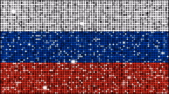 Flag of Russia glitter background - looping with reflectors and sparkles - stock footage