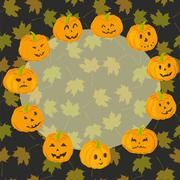 Pumpkin Halloween Scary Face Orange Circle with Copy Space - stock illustration