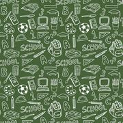 Stock Illustration of Green Board School Seamless Pattern Hand Draw Chalk Education Tools Supplies