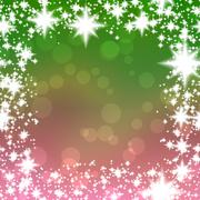 Bokeh green and old rose gradient background with square snowflakes border Stock Illustration