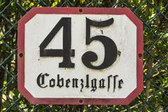 House number 45 in the Cobenzlgasse Stock Photos