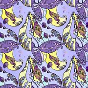 Abstract violet seamless floral pattern with beans - stock illustration