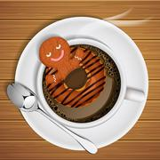 Stock Illustration of ginger bread with doughnut  in cup of hot chocolate