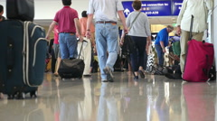 Timelapse large crowds of the Dallas Airport concourse Stock Footage