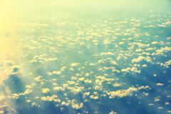View from a plane to sunset on the sky Stock Photos