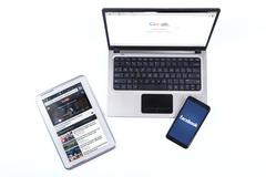 Modern gadget with social media network Stock Photos
