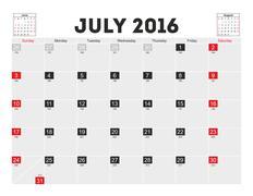 Vector planning calendar July 2016 - stock illustration