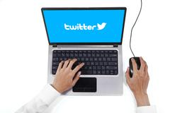 Person using laptop with twitter logo - stock photo