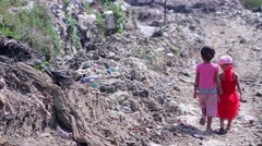 Children in poor areas. Stock Footage
