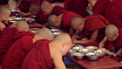 Burmese monks in the city of Bagan. Stock Footage
