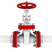Oil valve with red flanges - stock illustration