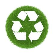 Recycle symbol in nature image on a piece of grass lawn Stock Illustration