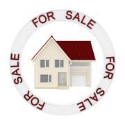 small house is enclosed in a circle with the words for sale - stock illustration
