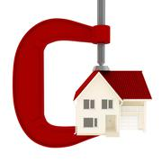 Stock Illustration of House with red roof extruded clamp. Isolated on white background