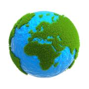 Planet with continents of growing grass isolated on white background Stock Illustration