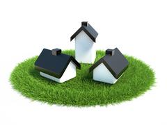 Small house standing on the lawn of green grass - stock illustration
