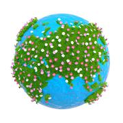 Planet with continents of green grass and flowers - stock illustration