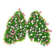 Grass with flowers grown in the form of human lung - stock illustration
