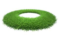 Lawn of green grass with a hole in the midst. Isolated on white background Stock Illustration