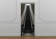 Passage in room leading escalator with access to the void - stock illustration