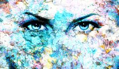 Blue goddess women eye, multicolor background. eye contact - stock illustration