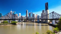Panoramic view of Brisbane Skyline with Story Bridge Stock Footage