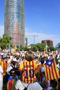 rally in support for the independence of Catalonia in Barcelona, Spain - stock photo