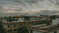 Monk school with monastery in the background - stock footage
