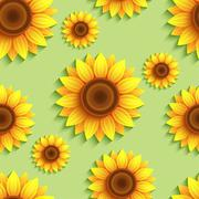Nature seamless pattern with 3d sunflowers - stock illustration