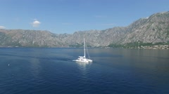 Stock Video Footage of White boat on Adriatic sea, Montenegro