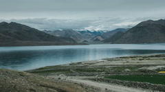 Pangong lake in ladkh with mountains in the background Stock Footage