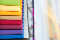 Colorful Fabric Samples Background Stock Photos