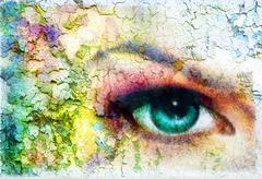 beautiful green women eye beaming, color rust effect, painting collage, violet - stock illustration