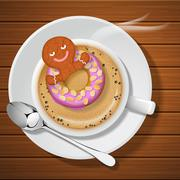 Stock Illustration of ginger bread with doughnut in cup of hot coffee