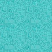 Thin Line Halloween Holiday Seamless Blue Pattern - stock illustration