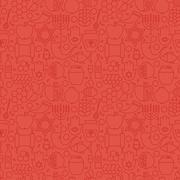 Thin Holiday Line Jewish New Year Red Seamless Pattern - stock illustration