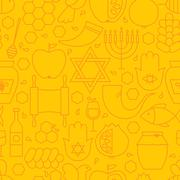 Thin Rosh Hashanah Line Holiday Seamless Yellow Pattern Stock Illustration
