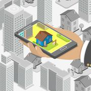 Stock Illustration of Real estate online searching isometric concept.