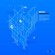 Abstract blueprint with complex geometric element. Useful for presentations. - stock illustration