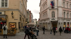 Old Tallinn looking down an alley - stock footage