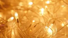 Yellow Christmas lights blinking in slow motion 1080p FullHD footage - Slow-m - stock footage