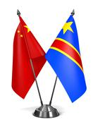 China and Democratic Republic Congo - Miniature Flags - stock illustration