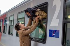 Arrival by train Stock Photos