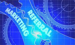 Referral Marketing Concept. Blueprint of Gears - stock illustration