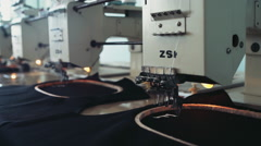 Professional equipment on a garment factory in working process Stock Footage
