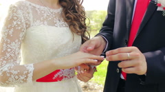 Groom wears the ring on the bride's hand close-up, registration in the park Stock Footage
