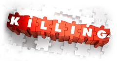 Killing - Text on Red Puzzles - stock illustration
