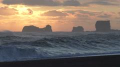 Iceland, Dyrholaey Beach at sunset Stock Footage