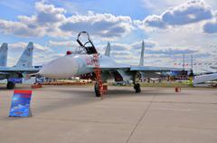 MOSCOW, RUSSIA - AUG 2015: Su-27 Flanker presented at the 12th M Stock Photos